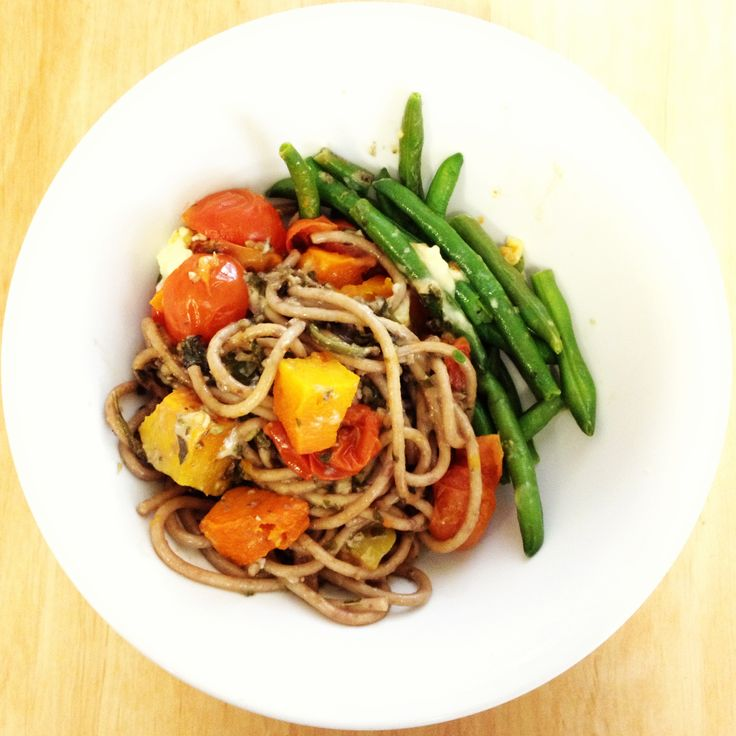 Basil & Walnut Pasta with Roasted Tomatoes & Pumpkin - so good! Plus extra greens - yum!