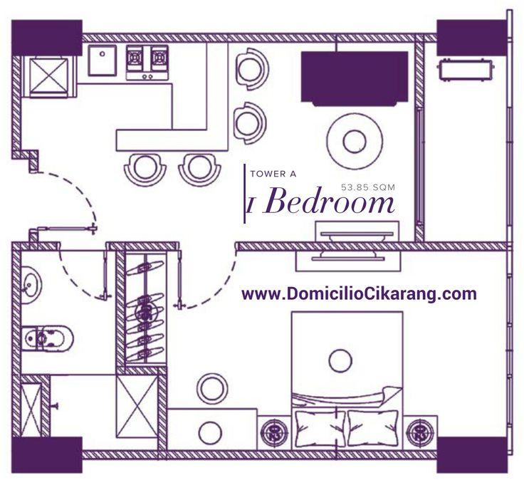 Denah unit 1 BR apartemen Domicilio Cikarang