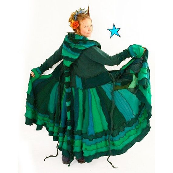 Recycled Sweater Elf Coat Pattern by Katwise  Green by katwise, $9.00-How fun is this!