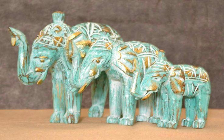 Hand carved set of 3 Elephant's