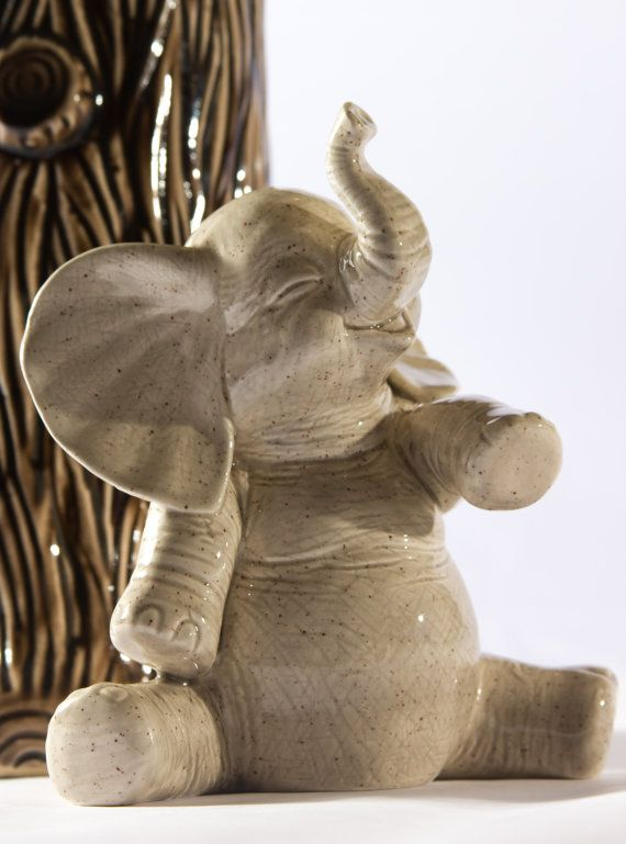 Ceramic Baby Elephant Coin Bank Gray by modclay on Etsy, $28.00