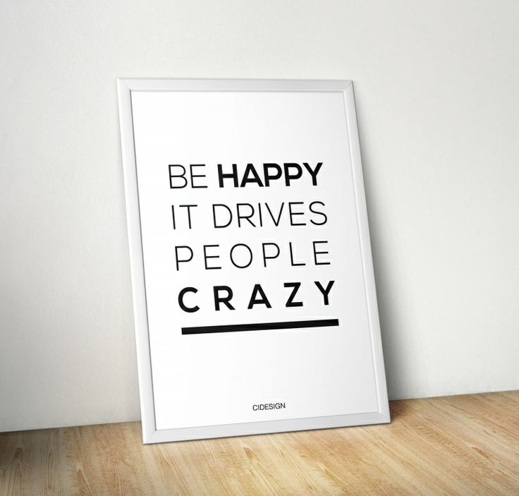 Plakat 'Be Happy' od CIDESIGN