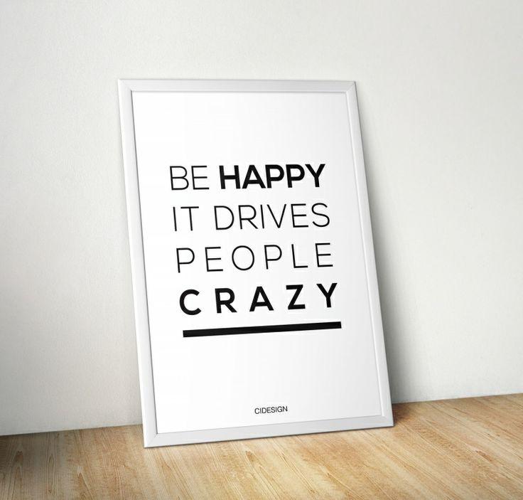 Plakat 'Be Happy' od CIDESIGN