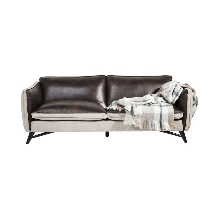 Fashionista Leather/Canvas 3-Seater Sofa • WOO Design
