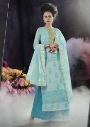 Party Wear Cotton Sky Blue Embroidered Work Plazzo