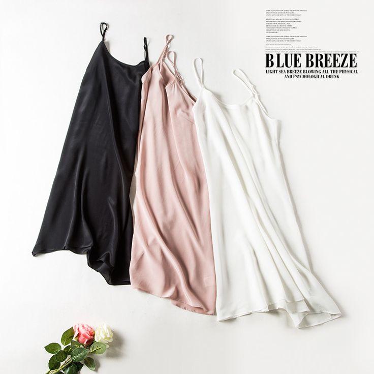 100% pur soie chemises de nuit femmes Sexy vêtements de nuit Très lumière SOIE nuisette nuisette D'été style rose blanc noir