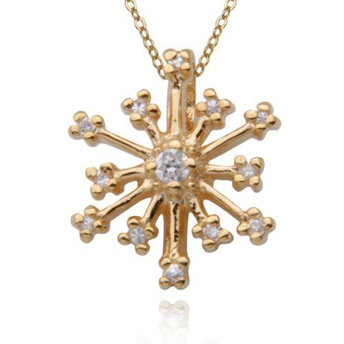 "18k Yellow Gold Plated Sterling Silver Cubic Zirconia Snowflake Pendant, 18"" Aesthetic Jewels. $14.99. Save 63%!"