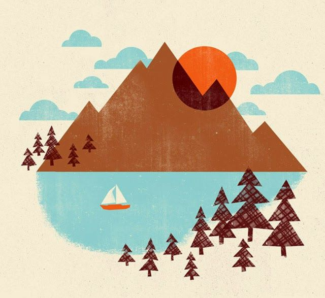 "Vintage Mountain Print. Would look Great in Your Kid's Room don't you think? // Illustrated by ""jennytiffany"" // #illustration #print #kids #room"
