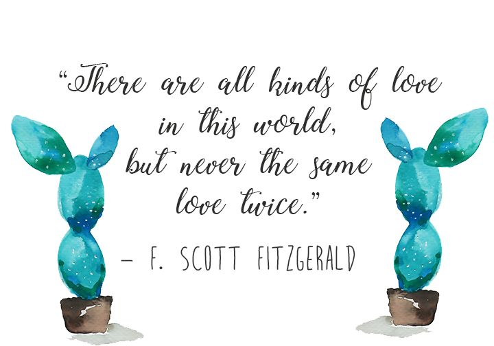"F. Scott Fitzgerald Quote - ""There are all kinds of love in this world, but never the same love twice."""