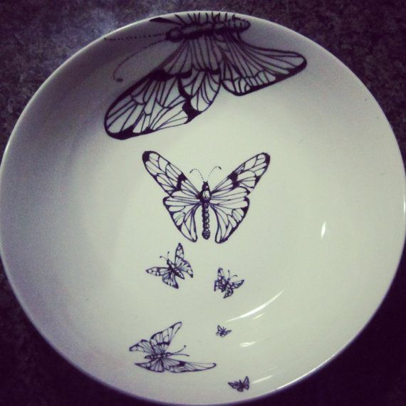 sharpie butterfly plate by magicmushroompatch on etsy butterfly gift diy porzellan. Black Bedroom Furniture Sets. Home Design Ideas