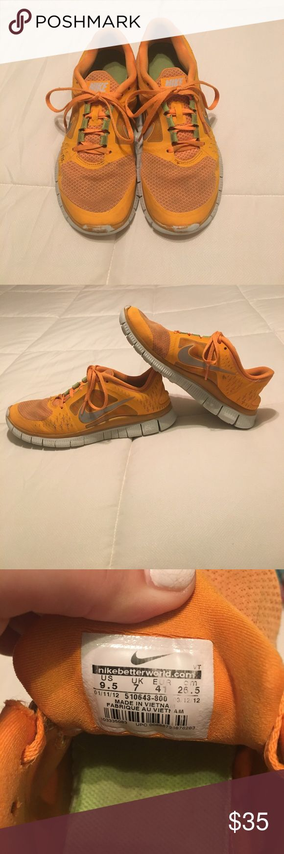 Nike Free Run 3 5.0 Tennis Shoes Orange Nike tennis shoes. A few scuffs. Holds a Nike+ under the sole. Comfortable and true to size. Have reflectors in the Nike symbol. Size 9.5. Nike Shoes Athletic Shoes