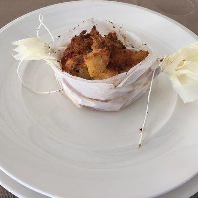 Open in foil  fillet of Black Pig and Fries...cartoccio aperto di maialino nero e patate