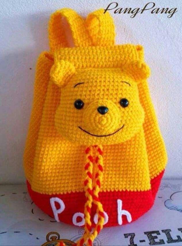 Mochila   infantil   amigurumi   croche   ursinho Pooh  