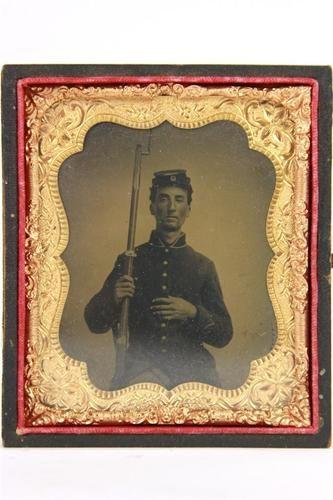 US Civil War Beautiful Tintype Photo of Soldier Holding His Rifle C 1861 Nice | eBay