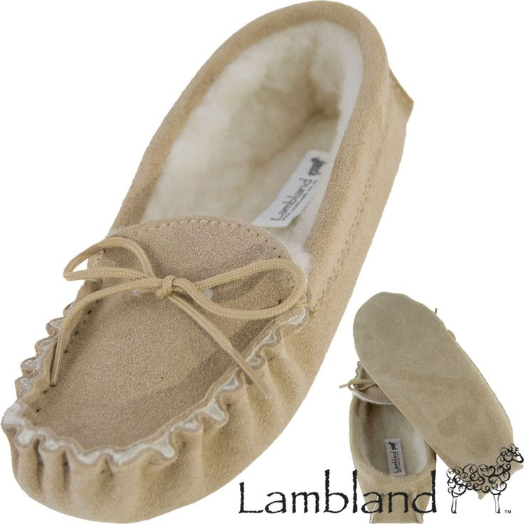Lambland Ladies Sheepskin Suede Moccasin Slippers With Soft Suede Sole - Beige