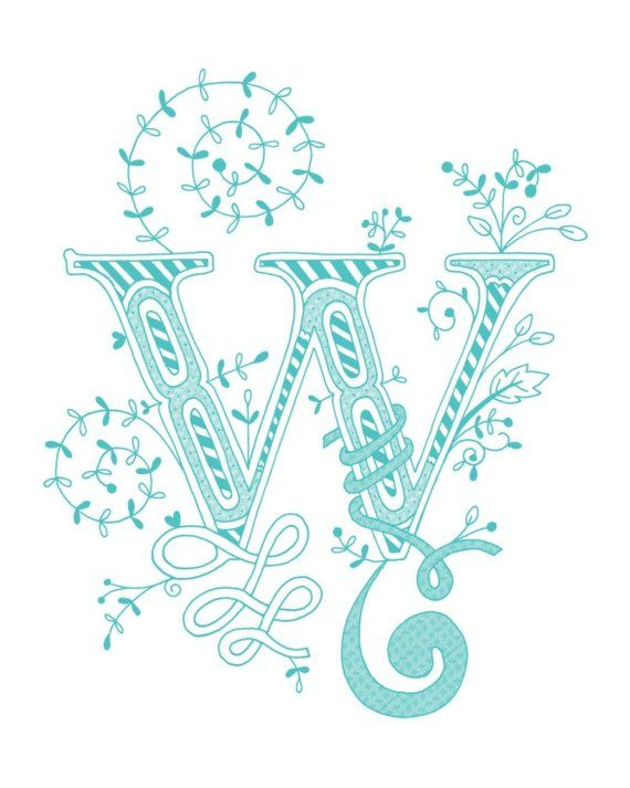 Hand drawn monogrammed print 8x10 the Letter W in by jenskelley, $15.00