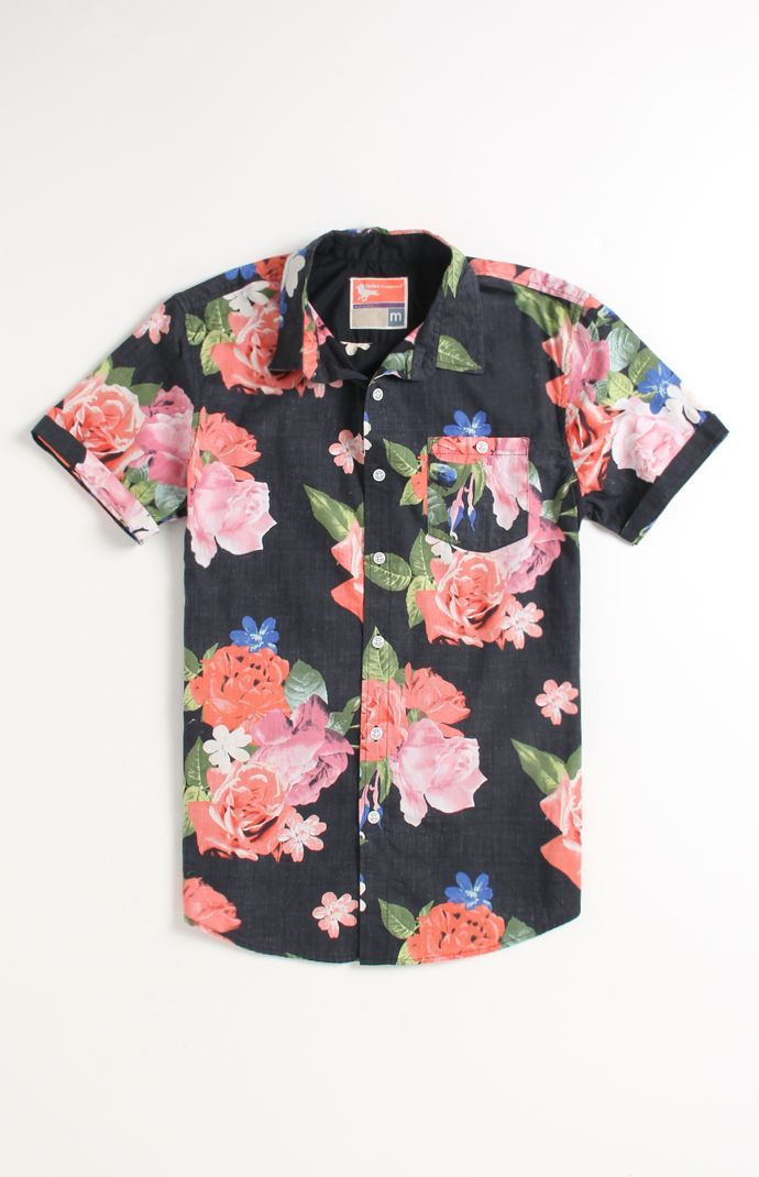 Floral short-sleeve button up shirt; would be cute with a pair of skinny jeans and skateboard or a pair of overalls