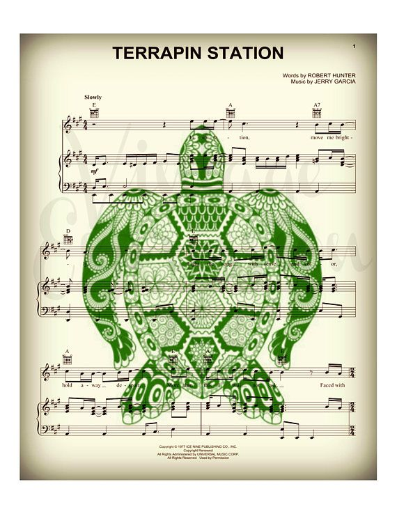 fa4fe64d1 Grateful Dead Terrapin Station Song Music Sheet Print Art | dead, led,  dylan, hendrix, more... | Grateful dead, Original music, Art prints