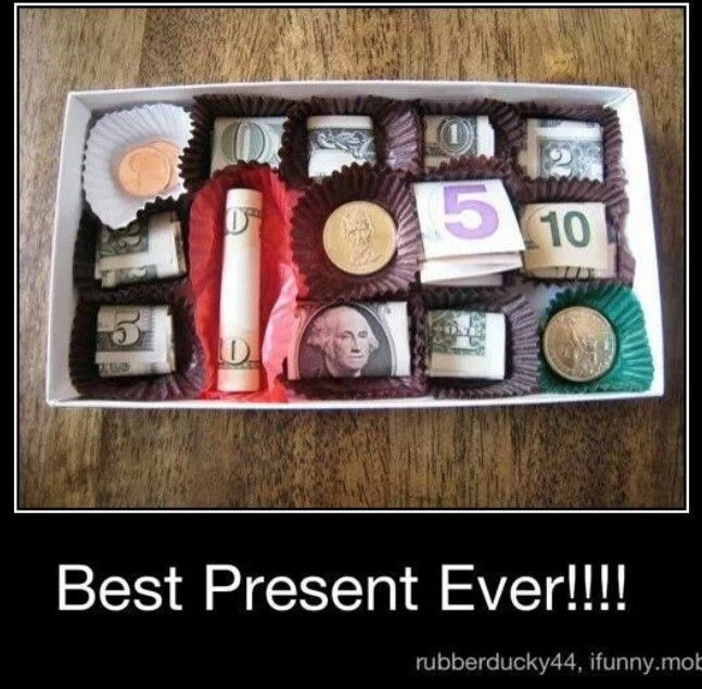 Best present ever!!!! Obviously it's a box of chocolate, bbut there's money in it.
