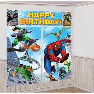 1081 - Spiderman Scene Setter Kit Scene Setter Kit Spiderman (2 x 82.5cm x 149cm, 1 x 113cm x 40.6cm, 2 x 26cm x 40.6cm) Combine to make a Giant Decoration - Each
