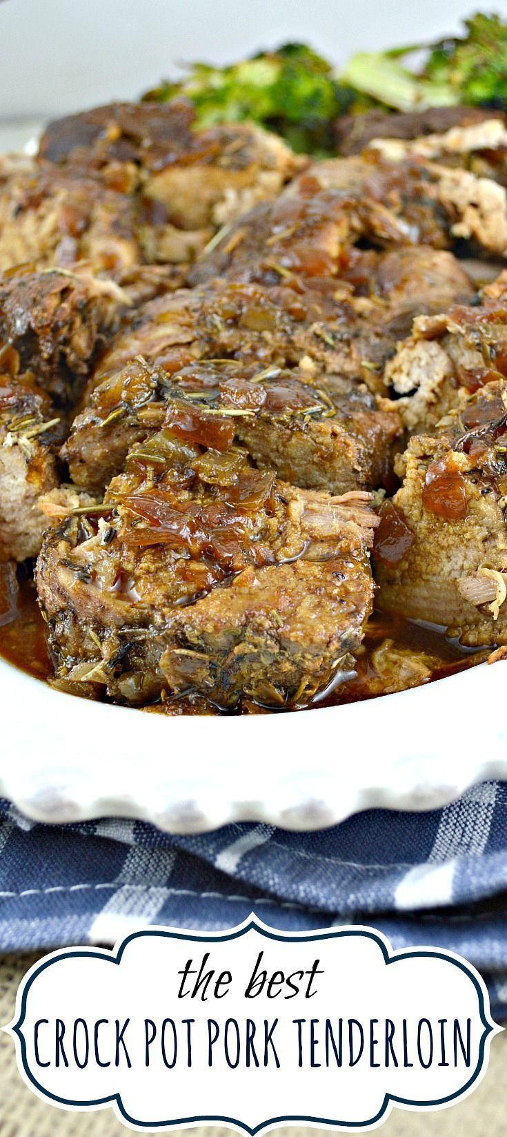 Crock pot pork tenderloin. This recipe makes an incredibly tender, moist,flavorful pork tenderloin with a fabulous pan sauce/gravy. All from scratch-no canned soup!  For Dinner tonight!