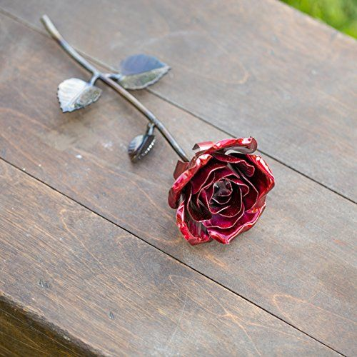 Hand Forged Wrought Iron Red Metal Rose