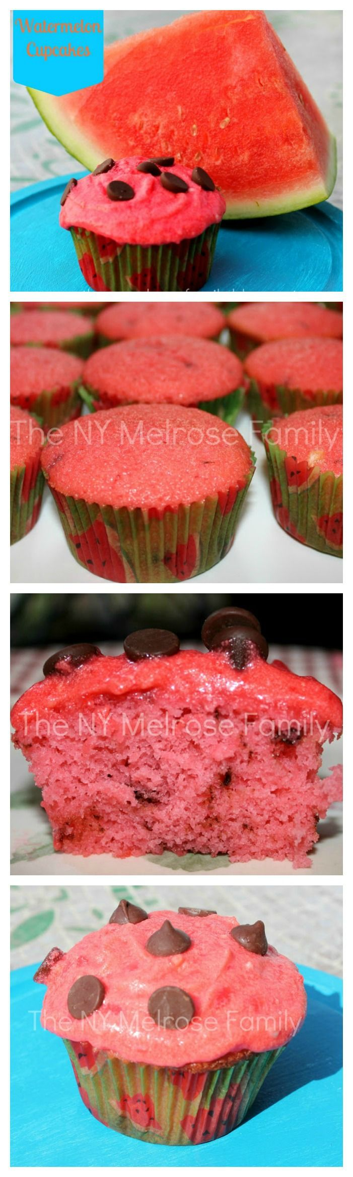 Watermelon Cupcakes with chocolate chips and watermelon buttercream frosting!