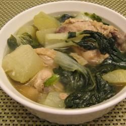 A great way to use chayote squash and greens (I only use one type of green in each batch - bok choy, spinach, kale work well).  I also replace the fish sauce with soy sauce.  Chicken Tinola Allrecipes.com