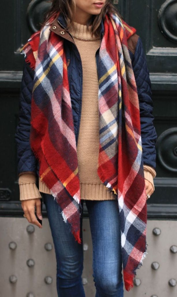 #winter #fashion / tartan scarf + denim