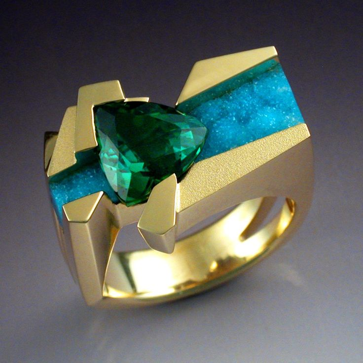 Ring | John Biagiotti.  18k gold, blue green Tourmaline with an underlay of Druzy Chrysocolla.  T