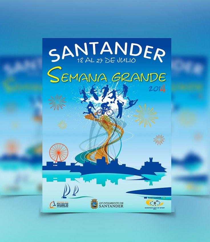 Flyer publicitario de la Semana Grande de Santander.  #DiseñoGráfico #MatchPublicidad #Flyer #Fiestas #Semana #Grande #Santander #2015