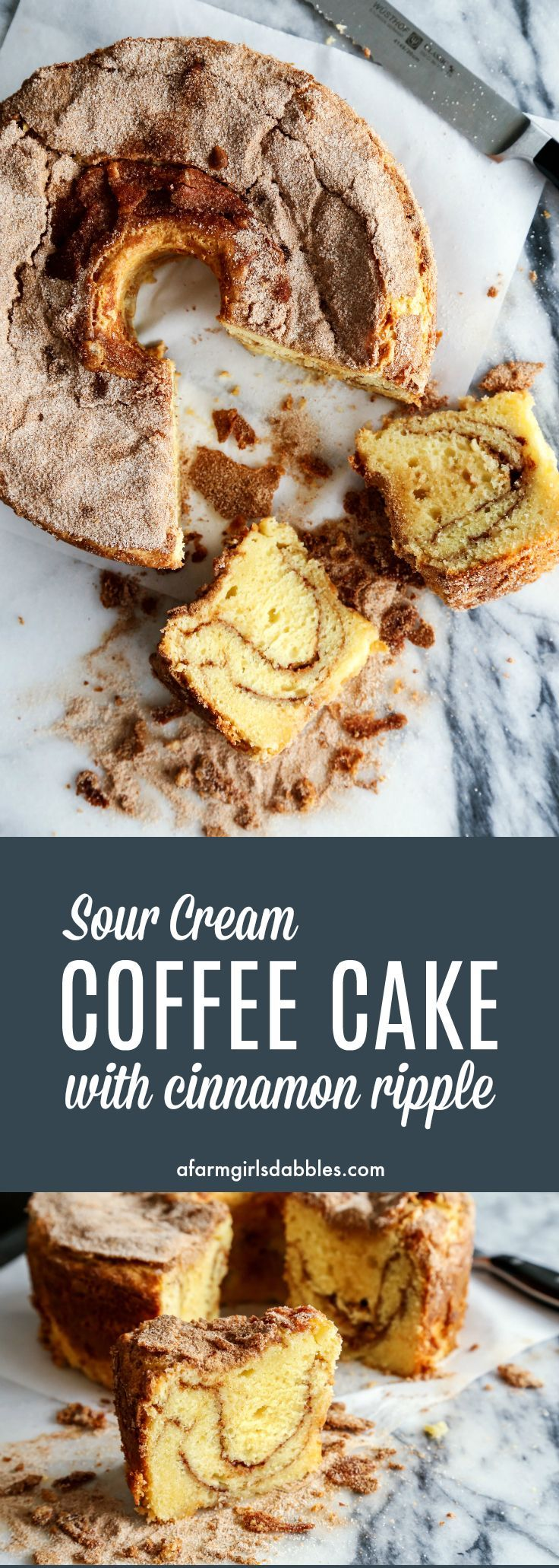Sour Cream Coffee Cake with Cinnamon Ripple from afarmgirlsdabbles.com - The best coffee cakes are made with sour cream, and with a good amount of cinnamon sugar. You will not be disappointed with this easy recipe! #coffeecake #sourcream #baking #cinnamon