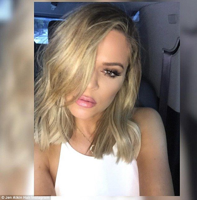 New look: Khloe Kardashian's hair stylist Jen Atkin shared this selfie of her famous client's new long bob on Instagram, writing 'Look who joined the #shorthairdontcareclub'
