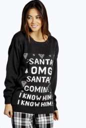 Emmy Santa's Coming Christmas Jumper from #Boohoo on discounted price. Use promotional Codes and coupon Codes.
