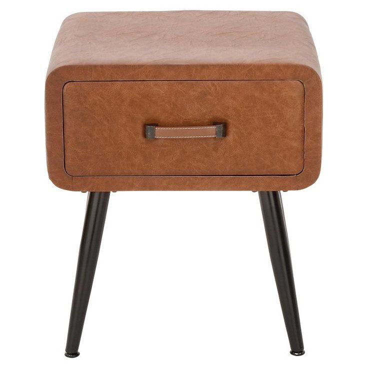 DecMode Faux Leather End Table With Drawers   55781, UMA6046 1