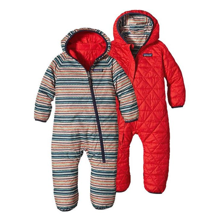 Patagonia Baby Reversible Puff-Ball Bunting - Fin Stripe: French Red FFNR