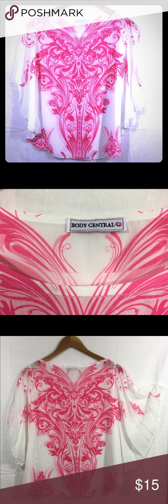 Lovely Sheer Pink & White Body Central Flowy Top Gorgeous hot pink and white top with butterfly sleeves from Body Central. Fabric is sheer and floaty. Buy 2 or more items from my closet and get 15% off total purchase! See an item you love but not keen on the price? Make me a reasonable offer:) Body Central Tops Blouses