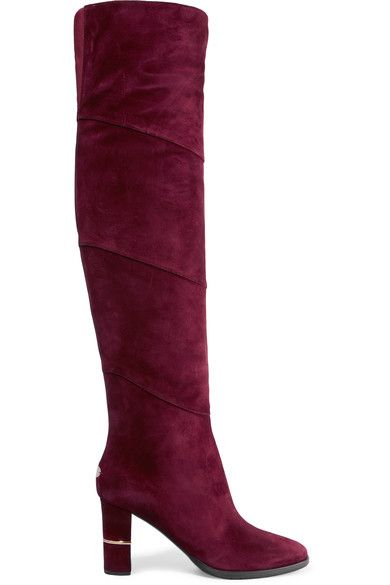 Jimmy Choo - Maira Paneled Suede Over-the-knee Boots - Claret - IT