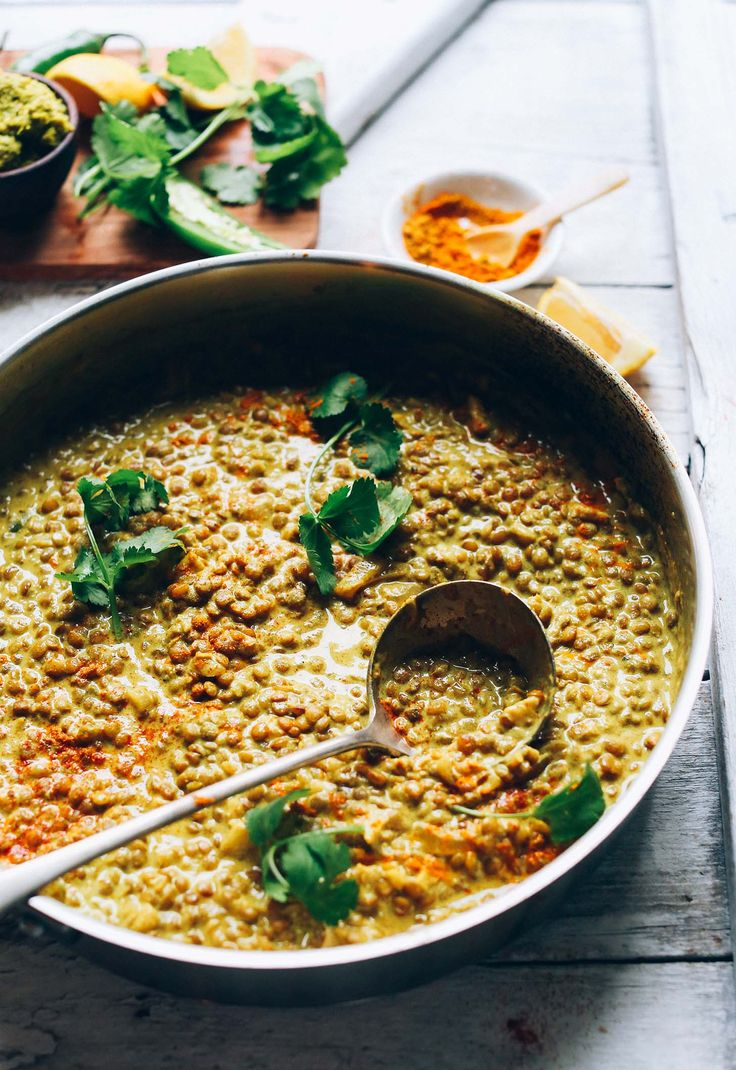 1-Pot Vegan Lentil DAL! Healthy, flavorful, TONS of protein + fiber! #vegan #glutenfree #easy #healthy #curry #lentils #recipe #dinner #minimalistbaker
