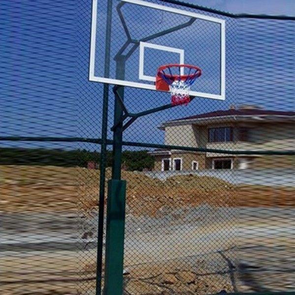 Basketbol Potası Tek Direk Profil ES107 BASKETBOL POTASI TEK DIREK PROFIL (100X100X 4MM) 15 MM CAM (AK) PANYA 105X 180 CM 20 SABIT ÇEMBER 120 cm ankrajlı, 60 cm yere gömmeli, Elektrostatik boyalı, Çember yüksekliği: 3.05 cm, Dış boru çapı: 114 mm,