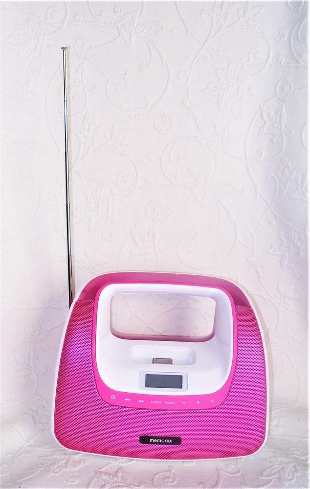 Memorex Minimove Pink Boombox with iPod Dock & FM Radio Receiver Mi3xPNK EUC #Memorex