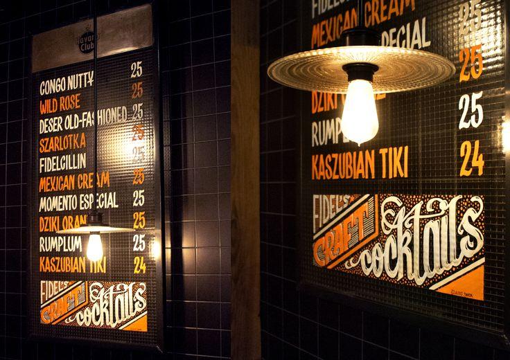 Chalk markers menu at Fidel Bar, Sopot, Poland by Aleks Skrok