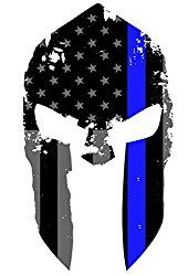 SPARTAN STICKER - 2 Pack - Subdued Spartan Helmet Us Flag Molon Labe Spartan Helmet Decal Sticker with Thin Blue Line.  Click on Image to see it on Amazon