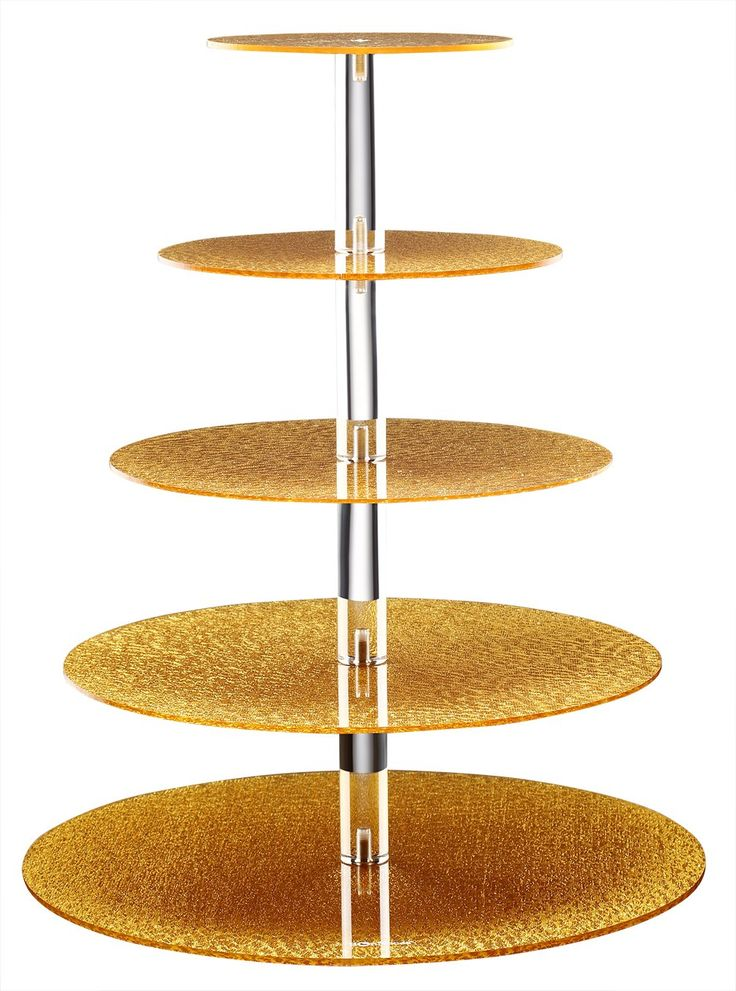 Sumerflos Brilliant Gold Cupcake Stand-Gold Dessert Display Stand-Gold Cupcake Tower-Gold Pastry Serving Platter-Gold Cake Stand for 50-60 Cupcakes (5-Tier-Round-Gold)