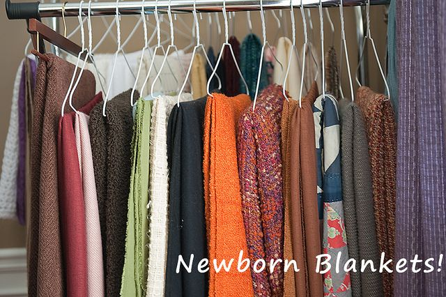 Newborn blanket storage. This is what I need to do instead of having them folded on shelves. It would take up much less room.