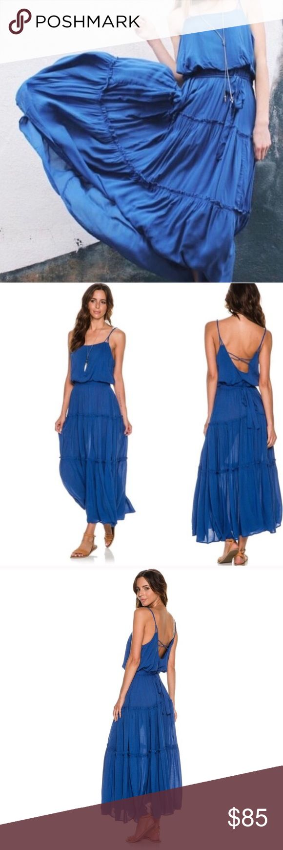 """FREE PEOPLE maxi dress NWT FREE PEOPLE maxi dress with an elasticize waist with an adjustable tie. Ruffle trim throughout and low back. Lined and 100% rayon. Approx. 29"""" waist and appx. 48.5"""" length (based on size small).   Size: M Retail: $128 Free People Dresses Maxi"""