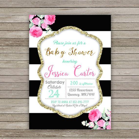 Baby Shower Invitation Black Stripes Baby by RainbowSweetStudio