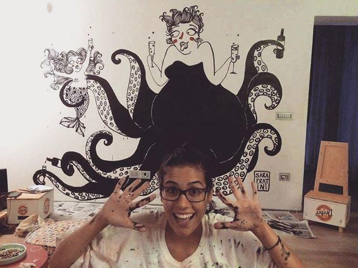 ¿Qué pasaría si Ursula y La Sirenita fueran un par de borrachas fiesteras? Nuevo mural ♡ / What if Ursula and The Little Mermaid were two crazy party girls? #sarafratini #illustration #ilustracion #Ursula #LittleMermaid #mermaid #sirenita #Pulpo #party #mural #wall