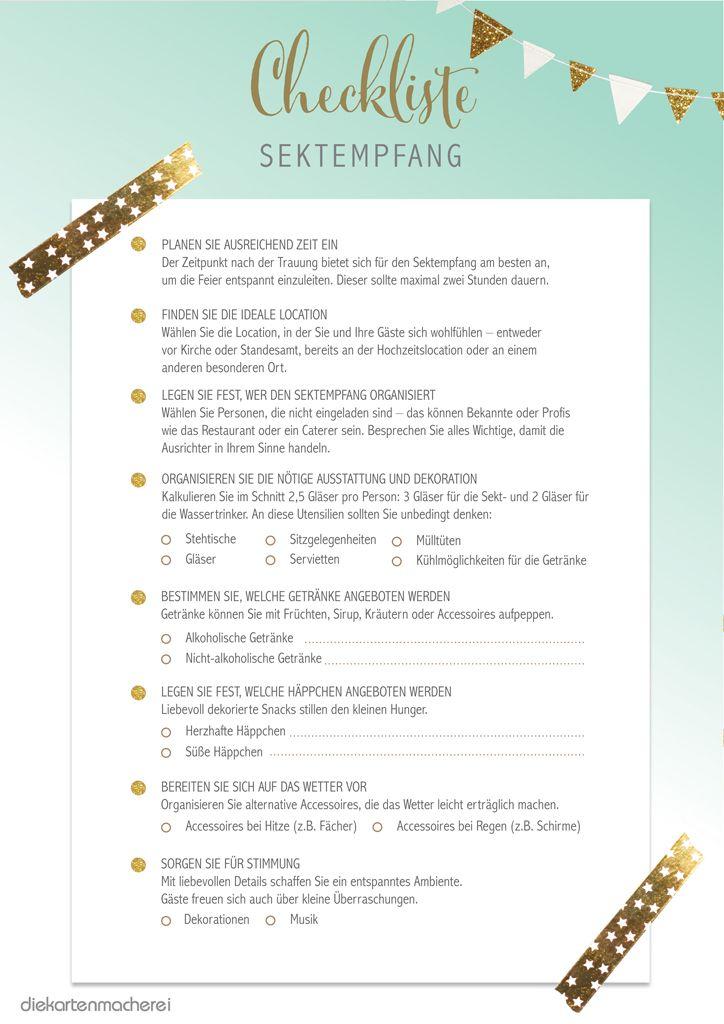 Checkliste für den Sektempfang
