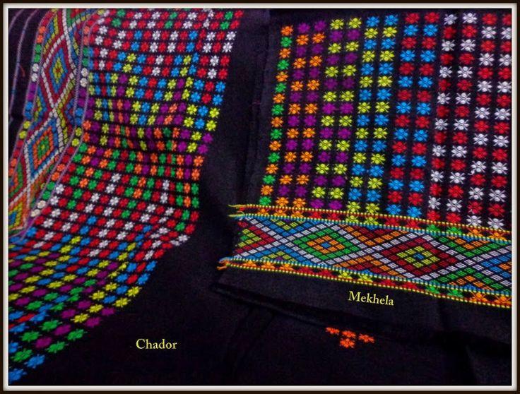 Multi Mishing Mekhla Sador - Black from Lal10.com